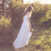 Lace Boho Wedding Dresses A Line Fllor Length Bridal Gowns Dreamy Romantic Beach Vestido De Noivas DW150