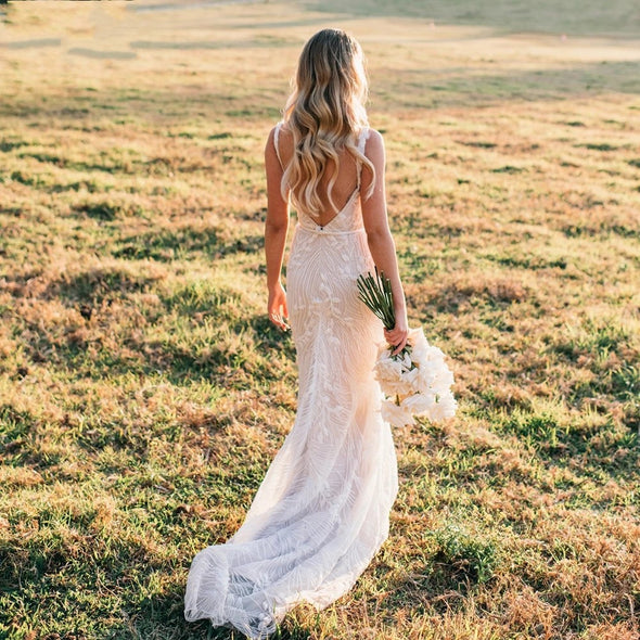Lace Mermaid Wedding Dresses Scoop Neck Sexy Backless