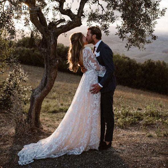 wedding dresses Boho beach A Line bridal gowns