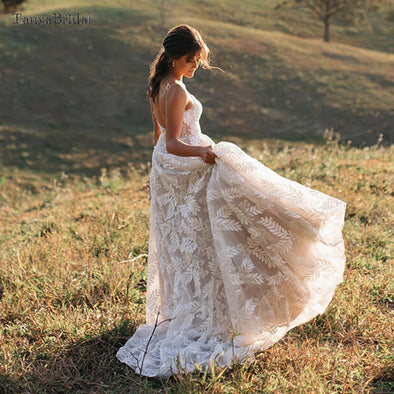 Leaf Lace A Line Wedding Dresses Nude Lining Boho Romantic Bridal Gowns DW506