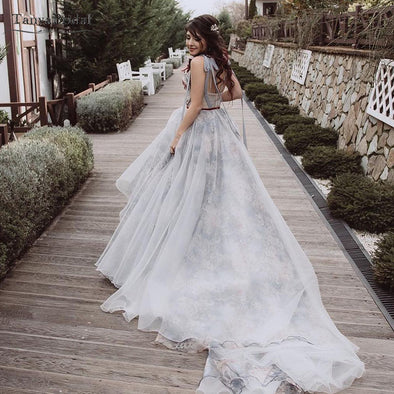 Light Grey Tulle Wedding Dresses Printed Organza Fashonable romantic Bridal Gowns Girl's engagement Dress Noivas DW052