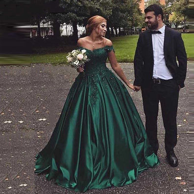 Long Formal Dress Robe De Soiree Elegant Green Satin Evening Dresse