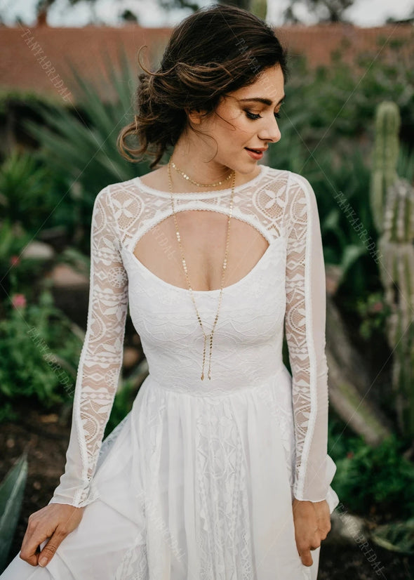 Long Sleeve Lace Wedding Dresses Open Back A Line Bridal Gowns
