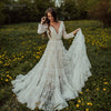 Long Sleeve Lace Wedding Dresses V-Neck Champagne lining Bridal Gowns Princess Boho Noivas DW174