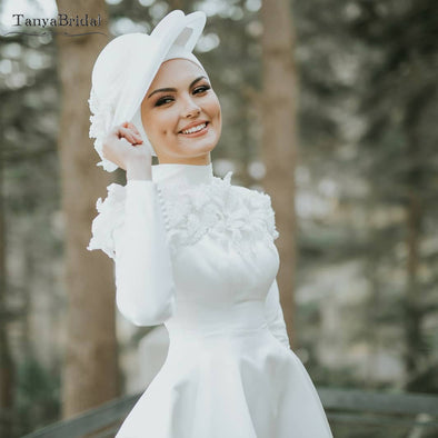 Long Sleeve Muslim Wedding Dresses high Collar Simple Elegant Bridal Gowns Floor Length DW315