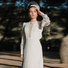 Long Sleeve Ivory Wedding Dresses Loose sleeve A Line Bridal Gowns Open back Vestido De Noivas DW242