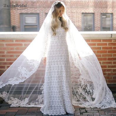 Mermaid Boho Lace Wedding Dresses High Collar Long Sleeves Macrame elegant Muslim Spring Bridal Gowns Vestido De Noiv DW036