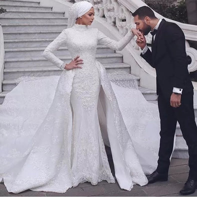 Muslim Mermaid Wedding Dresses With Detachable Train TBW78