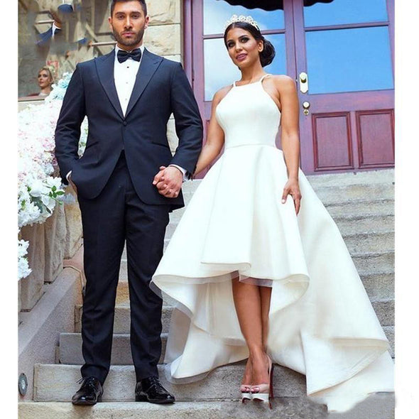 Modest Simple Wedding Dresses Hi Low Halter Neck Satin Beach Bridal Gowns
