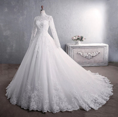 Muslim Wedding Dress 2021 Elegant High Neck With Train TB1471