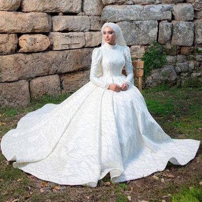 Muslim Wedding Dress White Beading Luxury Ball Gown  TB1477