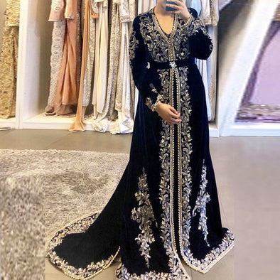 Navy Blue Moroccan Kaftan Dubai Evening Dresses Gold Lace Applique TBE06
