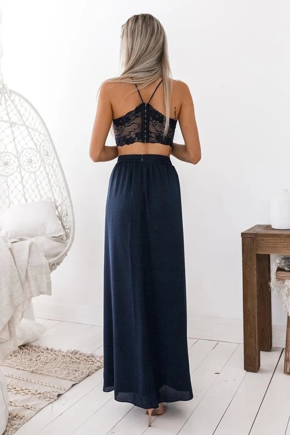 Navy Blue Simple Prom Dress Two Piece Spaghetti Straps with Slit TB1353