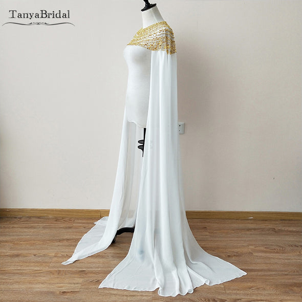New Fashion Chiffon Bridal Cape With Long Cape sleeve Gold Beading African Event Shawl Women Evening Accessories DJ065