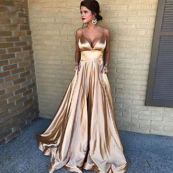 A Line Long Champagne Evening Dress Sexy Spaghetti Straps Party Formal Pageant Prom Gowns