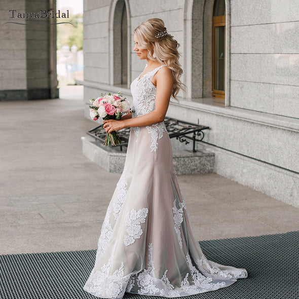 Nude champagne lace wedding dress mermaid bridal gowns DW221