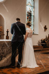 O-Neck Cape Sleeve Lace Wedding Dresses A Line Noivas DW371