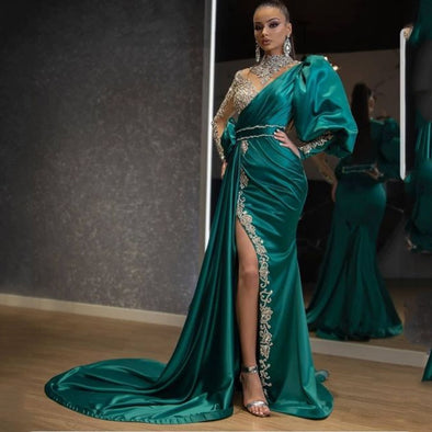 Arabic Long Sleeves High Collar Luxury Satin Evening Dresses