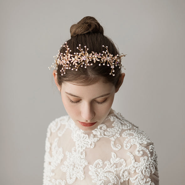 Korean Pearl Bridal headdress Fresh Rhinestone Flower Leaf Bride Hairband Studio Style Photographing Accessories O358