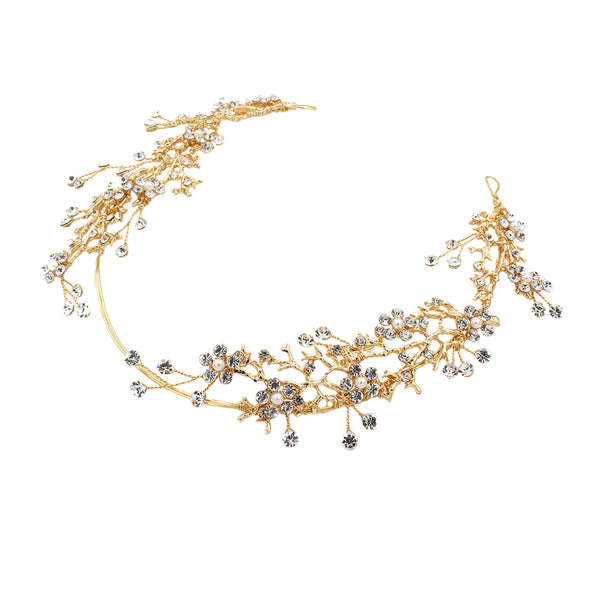 New Rhinestone Bridal Headdress Red diamond Branches Bridal hair band Wedding accessories O365