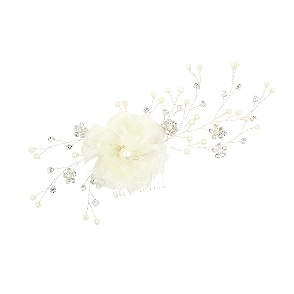 Forest Series Flower Bride Headdress Gauze Beaded Hairbrush Styling Photo Wedding Accessories O383