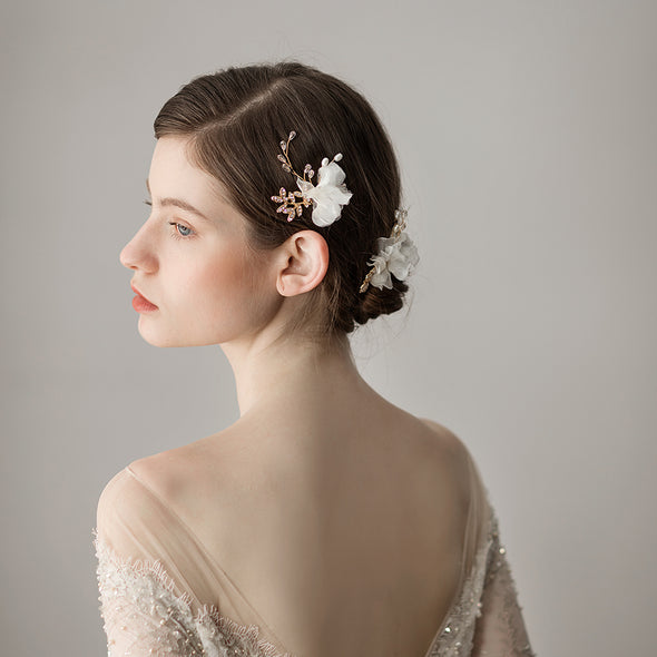 O394 Flower Bridal Headdress Delicate and Beautiful Chiffon Flower Pearl Bridal Hair Fork Bridal Accessories Wholesale