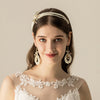 White Pearl Crystal Bridal Hairbands Tiaras Wedding Crown Headband Earring O534