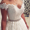 Off Shoulder A Line Wedding Dress 3d Flowers Sexy Backless Wedding Gowns
