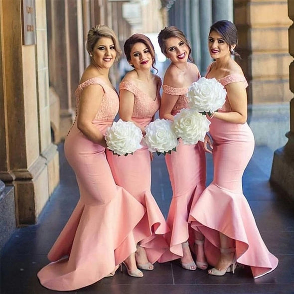 Off Shoulder Pink Bridesmaid Dresses Mermaid Style