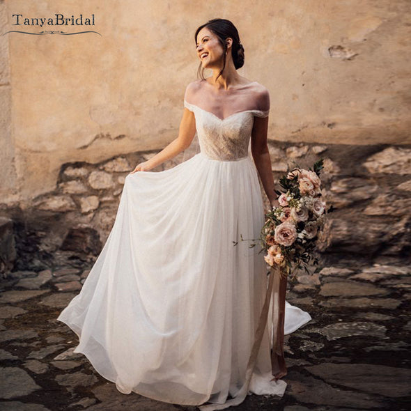 Off shoulder A Line Wedding Dresses Backless Chiffon Bridal Gowns Robe de Soriee DW311