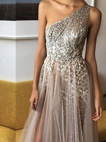 Sexy One Shoulder A Line Sequins Evening Dress With Beads TB1368