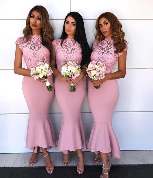 Bridesmaid Dresses Mermaid Cap Sleeves Lace Long Wedding Party Dresses For Women