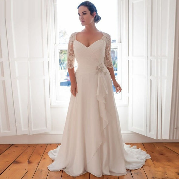 Plus Size Chiffon Bridal Dresses with Sleeves Robe De Marriage