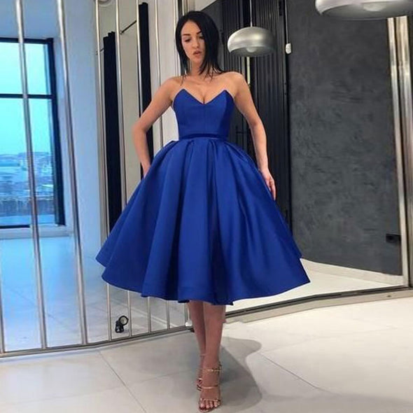Royal Blue Party Dress Short Ball Gown Satin Graduation Dress Homecoming