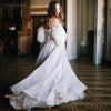 Puff Sleeve Wedding Dresses Vintage Style Printed Charming Bridal Gown Vestido de Noivas DW022
