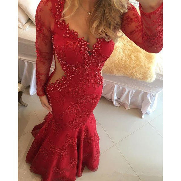 Red Prom Dresses Mermaid V-neck Long Sleeves Pearls Lace Sexy Party Maxys Long Prom Gown Evening Dresses Robe De Soiree