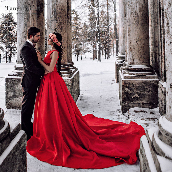Red Satin Wedding Dresses Jewel Neck Elegant Bridal Gowns DW223