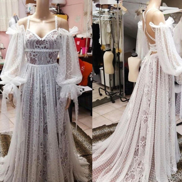 Bohemian Long Wedding Dresses A Line Dot Tulle Lace Bridal Gown