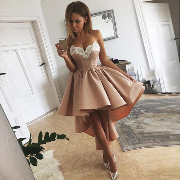 Women Lace Cocktail Dresses High Low Satin Short Homecoming Dress