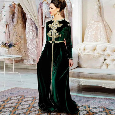 Green Moroccan Caftan V Neck Velvet Evening Dresses TBE04