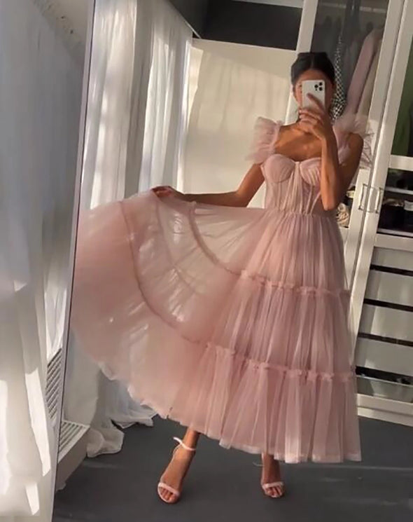 Simple Light Pink Short Prom Dresses Spaghetti Straps