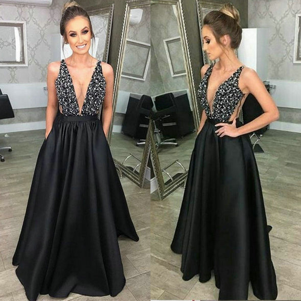 Sexy Black Dresses Prom Women 2020 Formal Evening Dresses Long