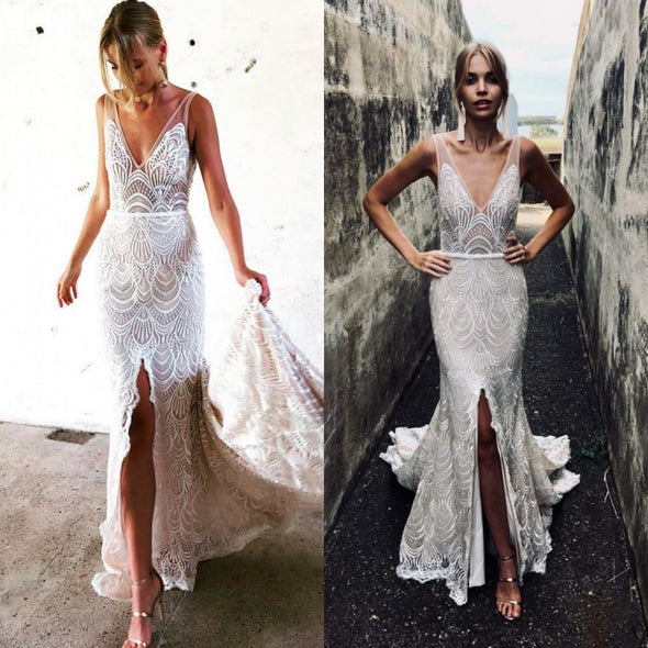 Deep V Backless Mermaid Wedding Dress Chic Lace