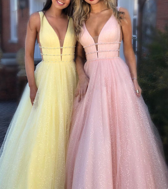 Sexy Deep V Neck Sparkle Long Evening Dress Robe De Soiree BlingBling Backless Prom Party Dresses 2020 Vestidos De Gala