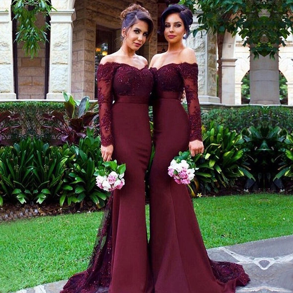 Sexy Lace Burgundy Bridesmaid Dresses Mermaid