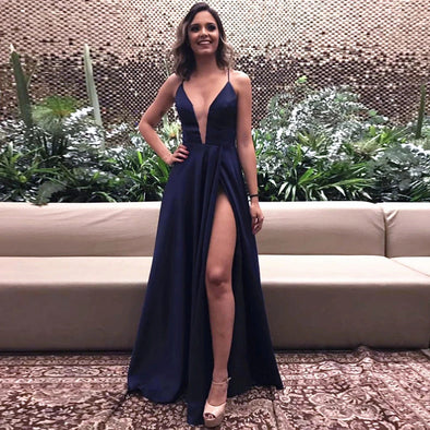 Sexy Navy Blue Prom Dresses High Slit Simple Backless Evening Dress