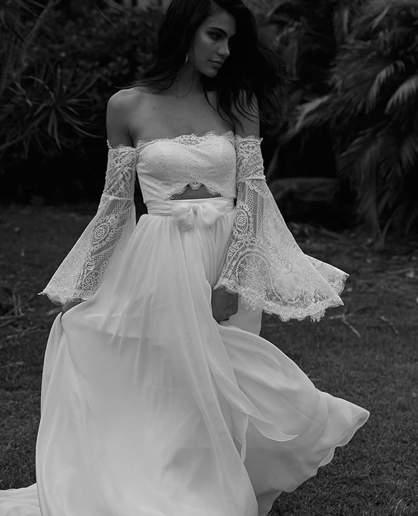Off the Shoulder Lace Beach Flared Sleeves Boho Wedding Dress