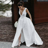 Sexy V Neck Sleeveless Satin Wedding Gowns Vestido De Noiva