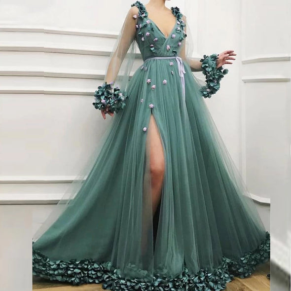 Sexy V-neck Hunter Green Side Slit Tulle A-line Prom Dresses Long Sleeve Flower Formal Evening Dress vestido formatura