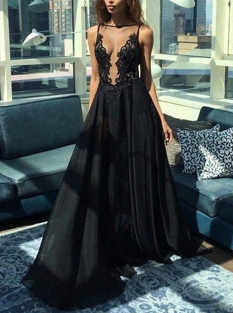 Sexy Backless Prom Dresses Illusion A-line Black Evening Dress TB1359
